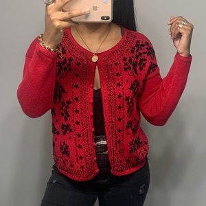 Vintage 90's Red Beaded Button Front Cardigan SZ S